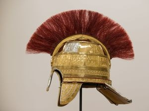 A reconstruction of a helmet found in the Staffordshire Hoard at the Birmingham Museum and Art Gallery