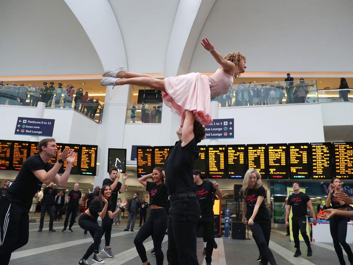 The Dirty Dancing cast perform at Birmingham New Street. Photo: Adam Fradgley
