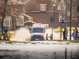 Flooding on Stowheath Lane, Wolverhampton, after a water main burst. Photo: Paul Rush