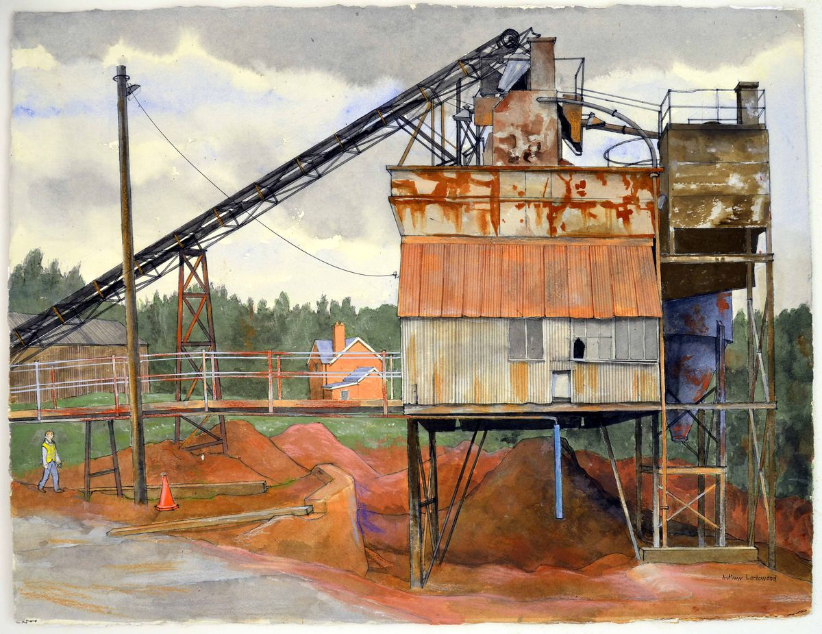 Ready Mix Concrete in Pear Tree Lane, Dudley, captued in watercolour and pen 2011-13