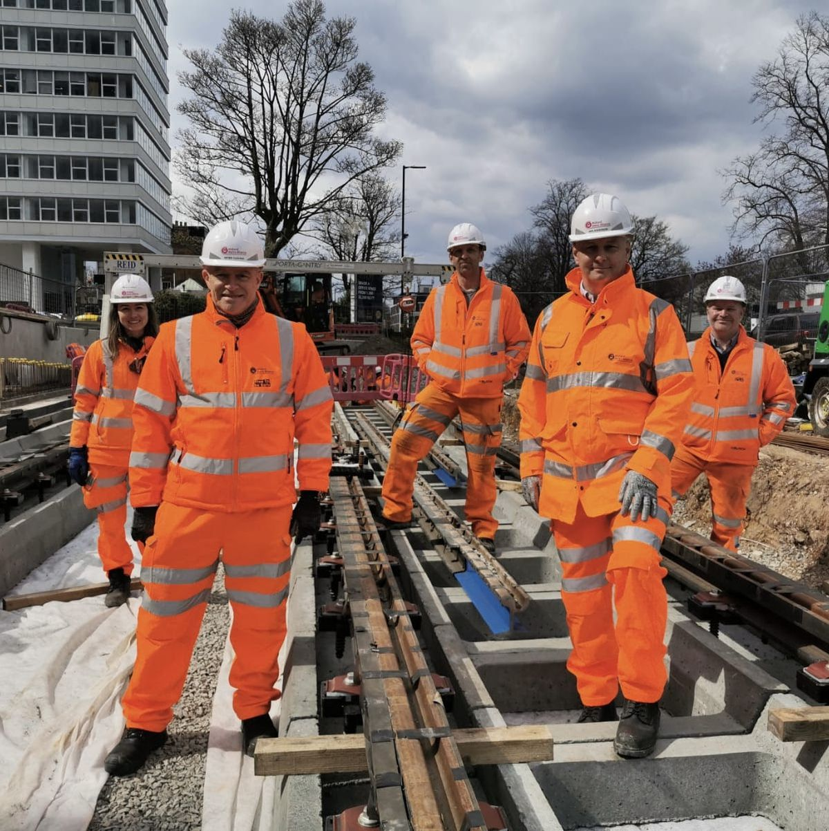 Clockwise from front left, Peter Cushing, director of the Midland Metro Alliance; Marta Gasch, lead track engineer; Martin Ponter, delivery manager; Stephen Christopher, deputy construction director and Iain Anderson, managing director of Colas Rail Urban & Industries