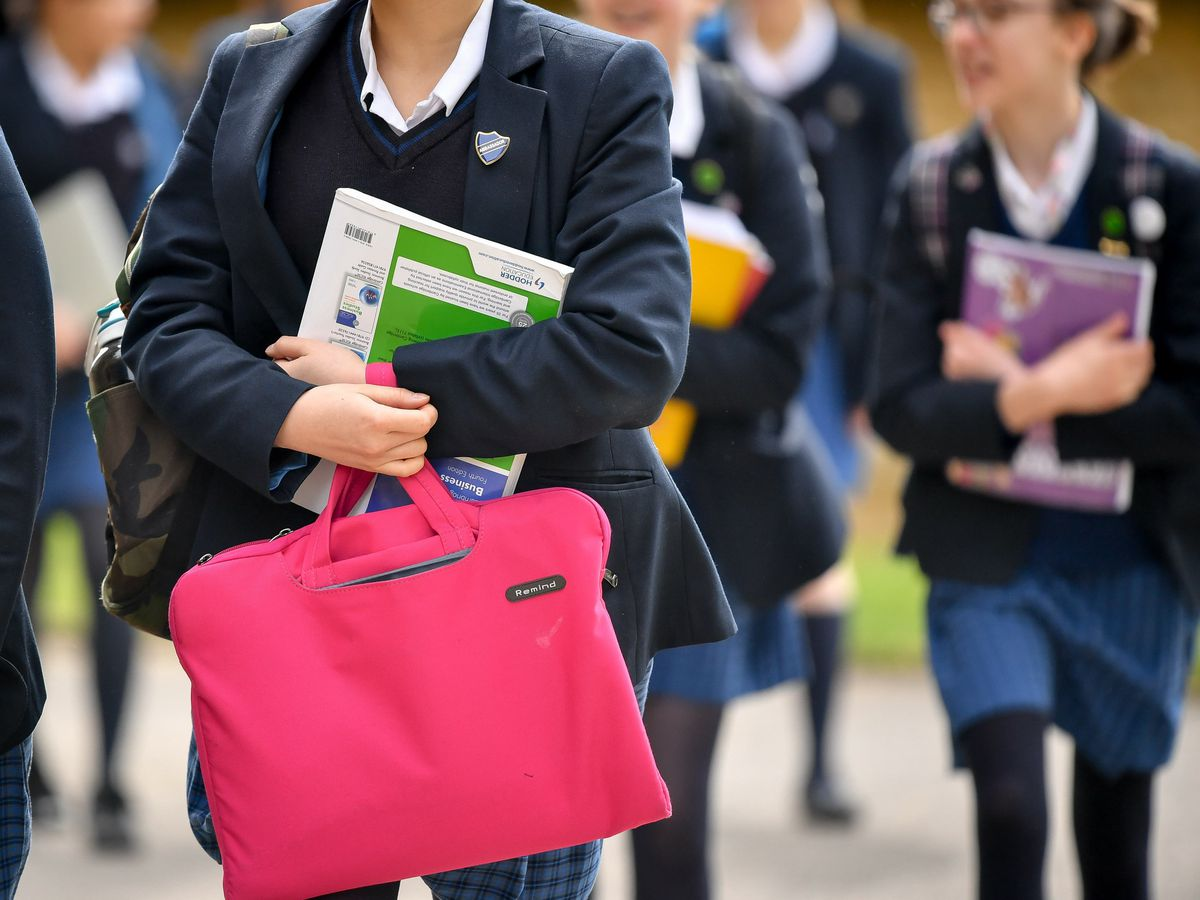 Students carry bags and books