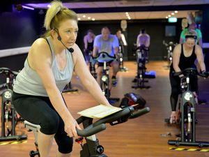 Helen Hill teaching a 9.15am spin class for the first time in six months at Haden Hill Leisure Centre