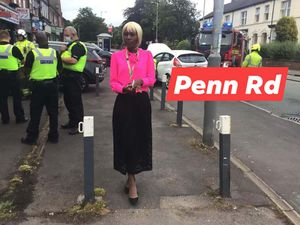Councillor Hibbert at the smash scene in Penn on Sunday evening