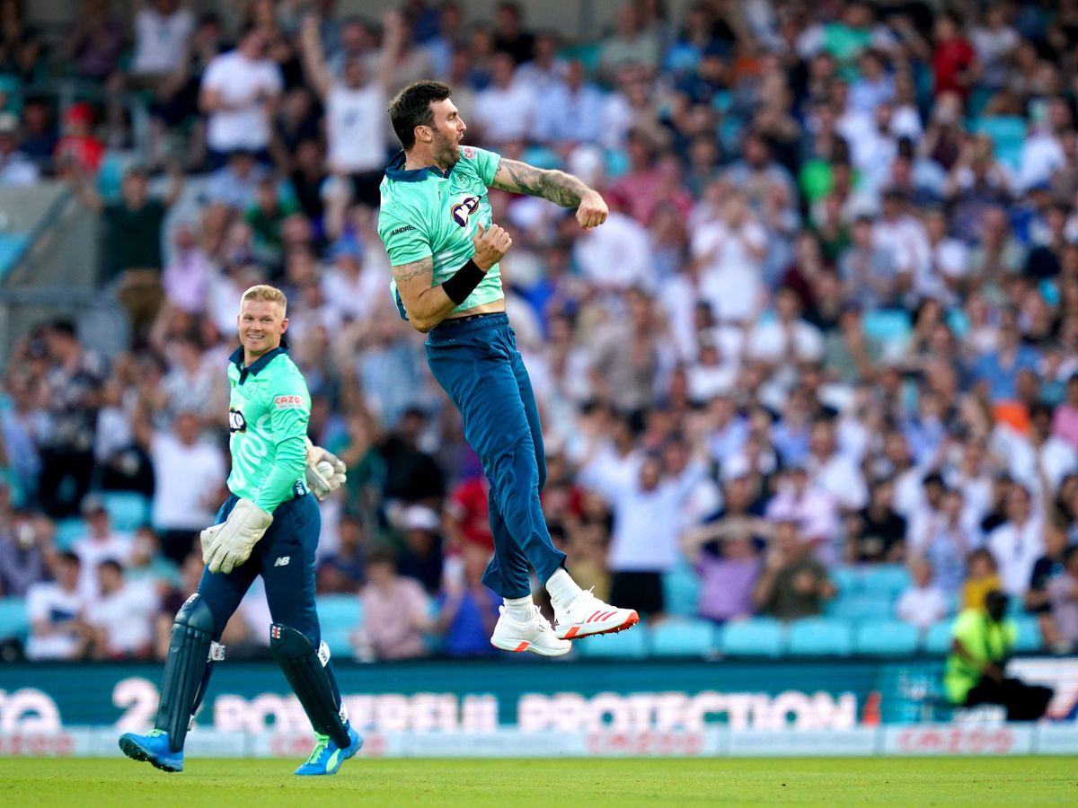 Reece Topley celebrates after taking a wicket