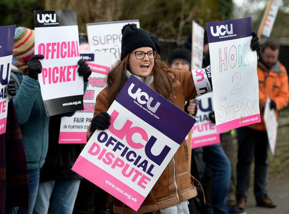 Union members on strike today