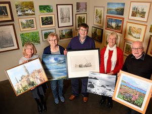 Sandra Gould, Margaret McAtominey, David McGuire, Pat Hoskisson and Ken Worley, from Walsall Society of Artists get set for their exhibition at New Art Gallery, Walsall
