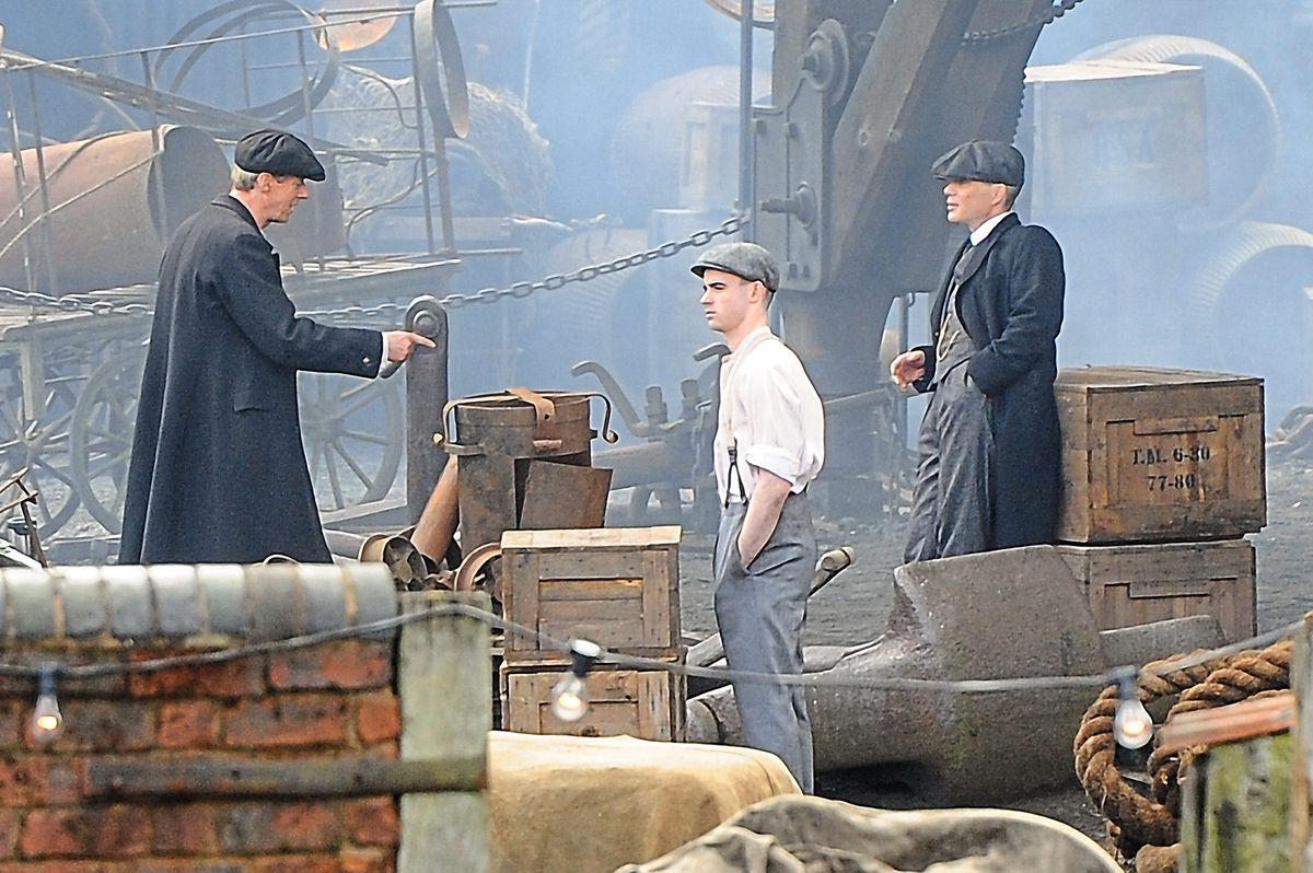 Cillian Murphy films scenes for the second series of crime drama Peaky Blinders on location at the Black Country Museum