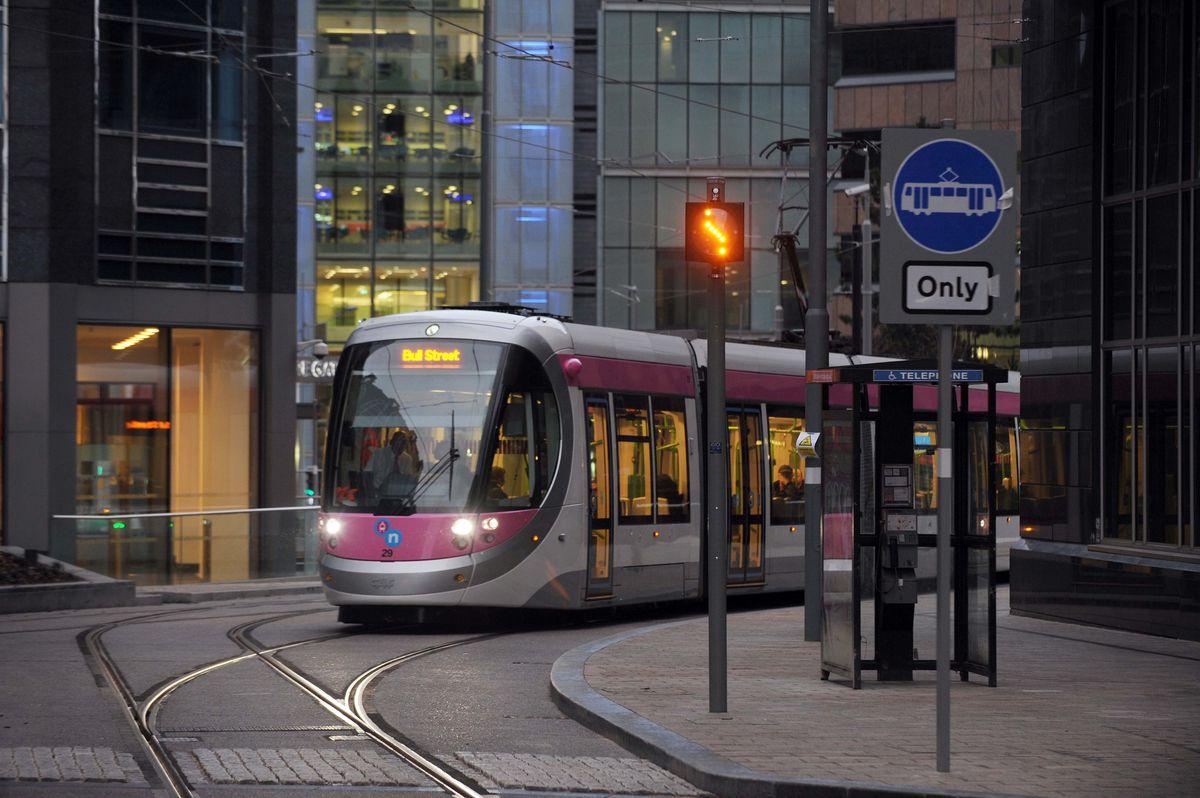 The Metro ways it way through Birmingham on the new extension