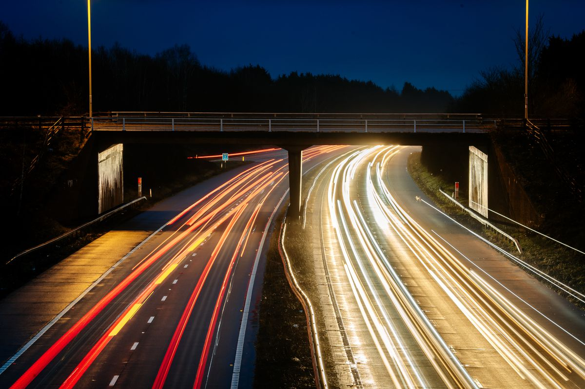 Day breaks on the M54 motorway in Shropshire, the lights showing congestion at near-normals levels despite lockdown measures