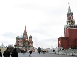 St Basil's Cathedral (left) in Red Square in Moscow (Owen Humphreys/PA)