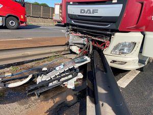 Crews were on scene repairing the barrier at 11am. Photo: Highways England