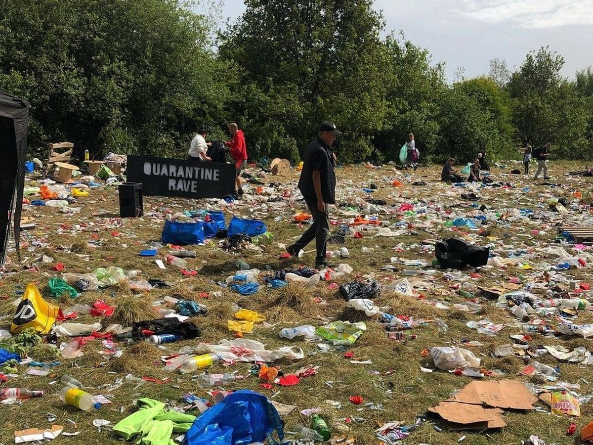 The mess left behind after the 'Quarantine Rave' in Manchester