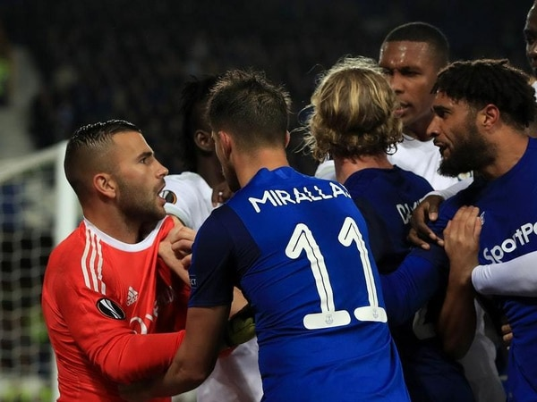 Amazingly, nobody was sent off after this brawl during Everton v Lyon