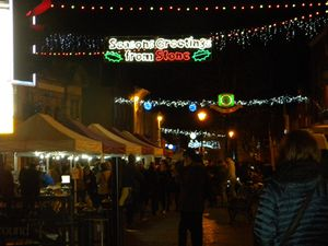 Christmas lights in Stone town centre in December 2017. Photo: Kerry Ashdown