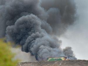 The burning lorry at Cannock's Biffa Poplar Landfill