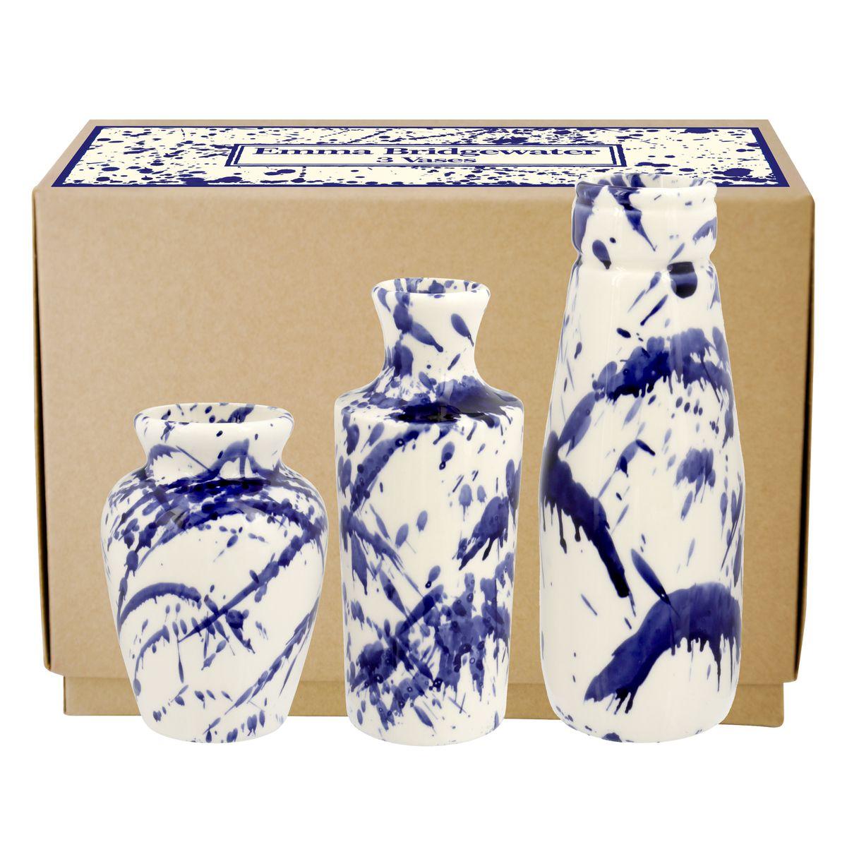 Blue Splatter Set of 3 Vases