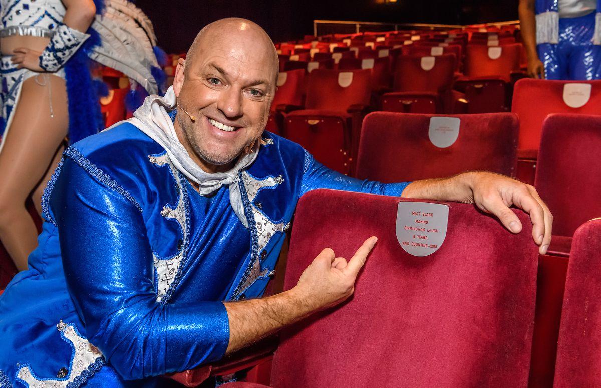 The Birmingham Hippodrome have dedicated a seat in the auditorium to panto star Matt Slack.