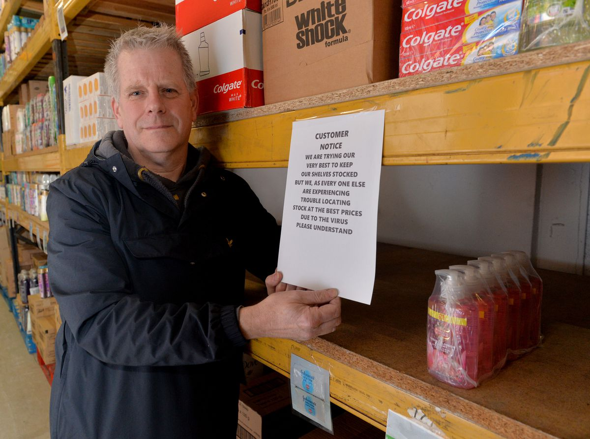 Glynn Goodsell at Sellgoods Ltd in Tipton where customers have been stealing from each other's trolleys