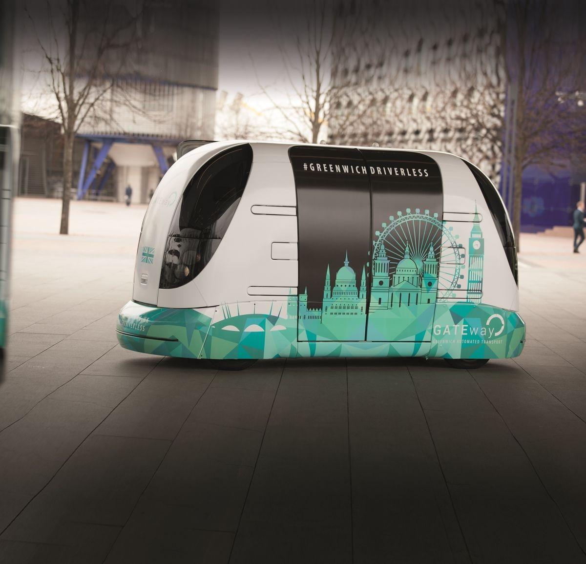 One of Westfield's self-driving GATEway shuttle vehicles in Greenwich