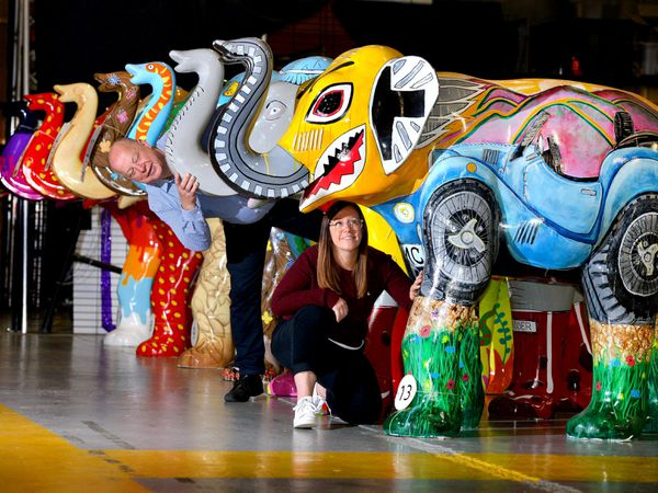 Elephant sculptures at DRP Studios. Pictured is Sara Matthews and Dale Parmenter.