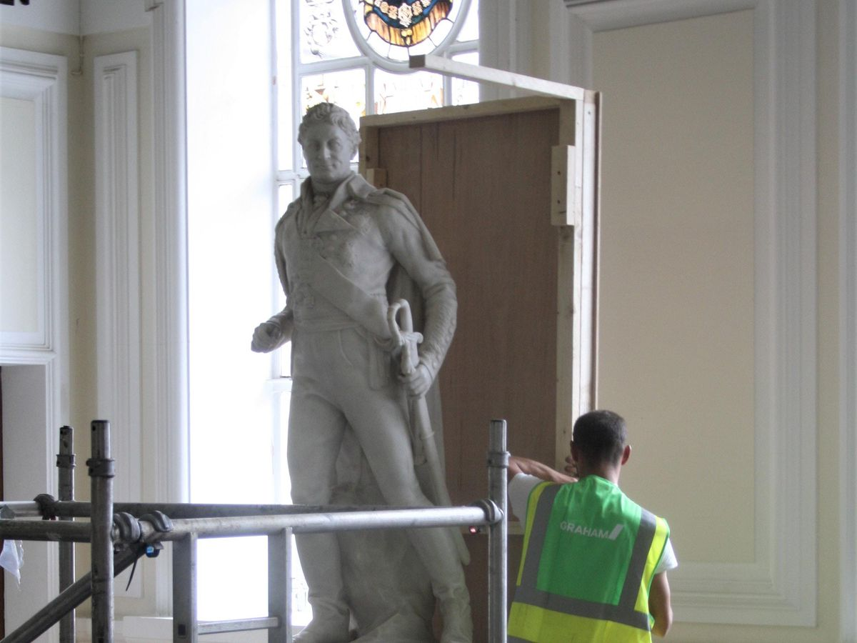 Sir Thomas Picton's statue is boarded up