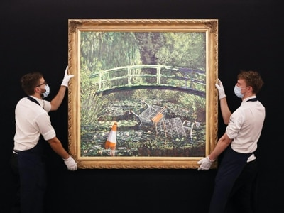 Banksy reimagining of Monet's water lilies could fetch up to £5m at auction