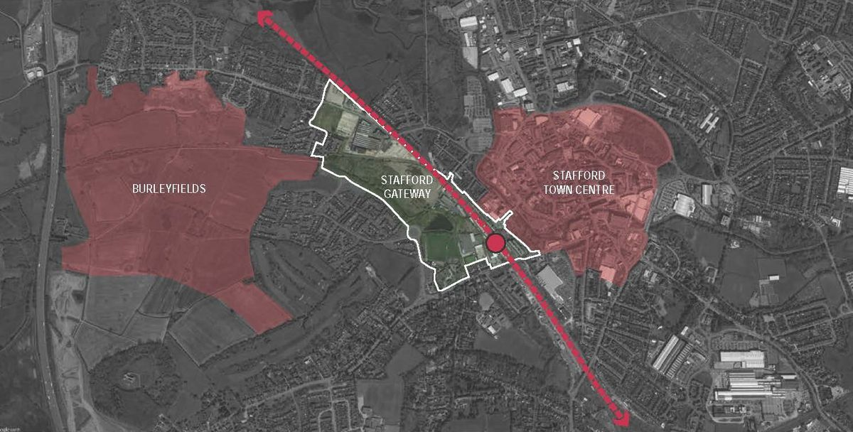 This map shows the area involved in the plan, with the red line indicating the HS2 line