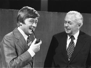Library file dated 22.1.77 of impressionist Mike Yarwood, left, with  former Prime Minister Sir Harold Wilson. Yarwood today (Tuesday) announced plans for his latest comeback as he he launched a search for talented new mimics to join him on his new BBC show 'Taking Off With Mike Yarwood'. The veteran comic, returning after a nine year absence during which he battled alcoholism, wants members of the public to get involved in the show. See PA Story SHOWBIZ Yarwood. AVAILABLE IN B/W ONLY.