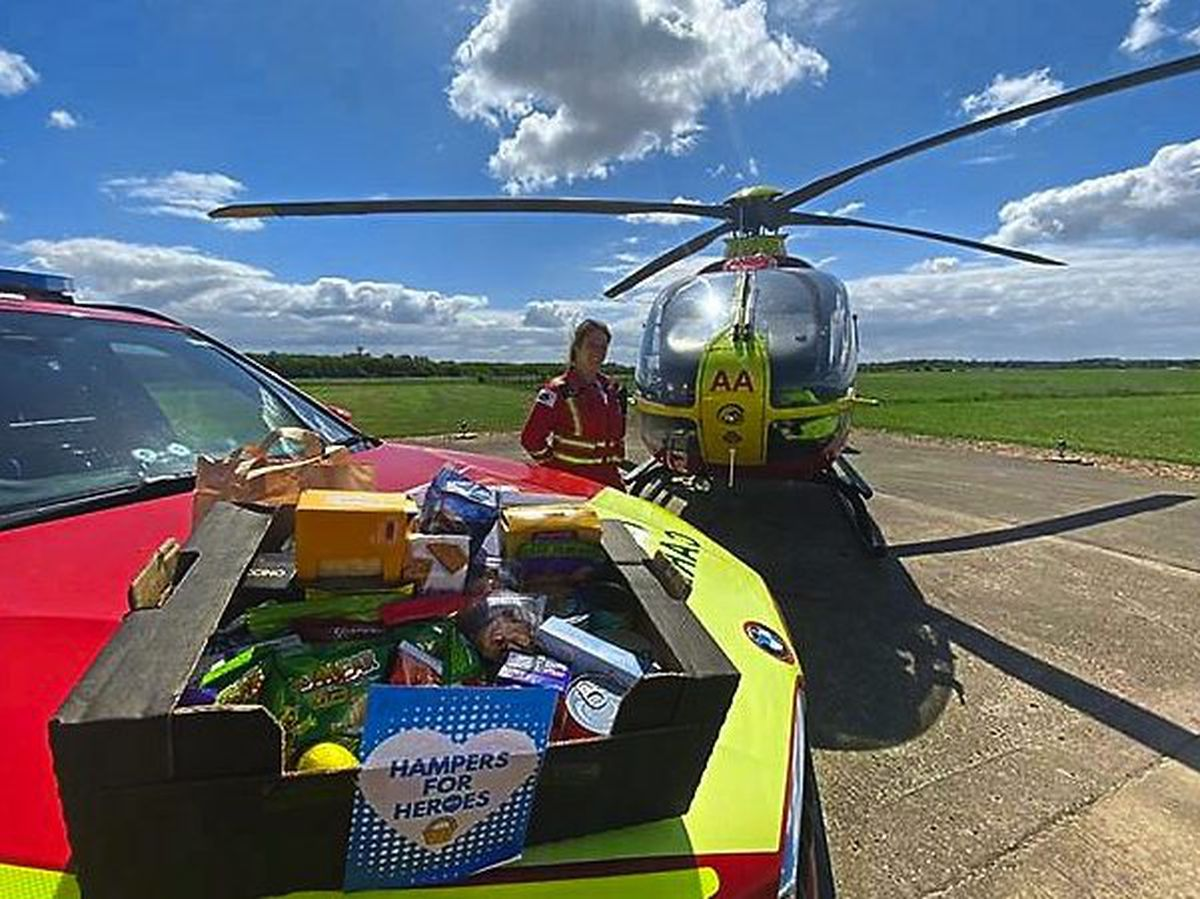 Staff at Midlands Air Ambulance Charity received a hamper from Victoria Hanson