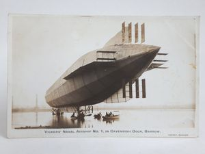 The Vickers' Naval Airship Number One in Cavendish Dock at the Port of Barrow in September 1911. Nicknamed 'Mayfly', in that 'it may fly one day', the craft never did.