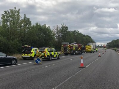 M6 closed after air ambulance lands in aftermath of crash