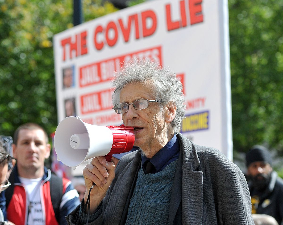 Piers Corbyn, brother of Jeremy, at the protest in Birmingham