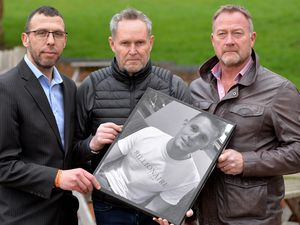 Ryan's father Adrian, centre, with family friend Jason Connon, left and private investigator Russ Winfield
