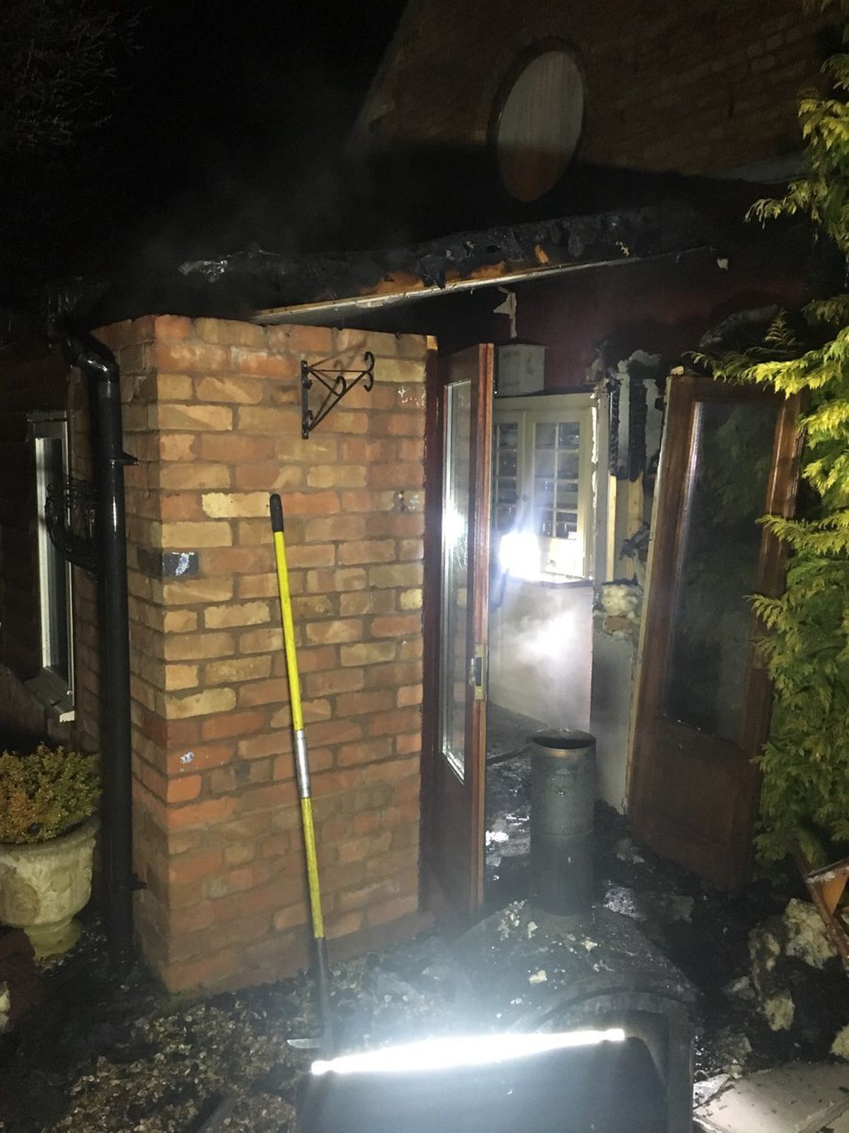 The aftermath of the house fire near Stafford. Photo: @StaffsFire