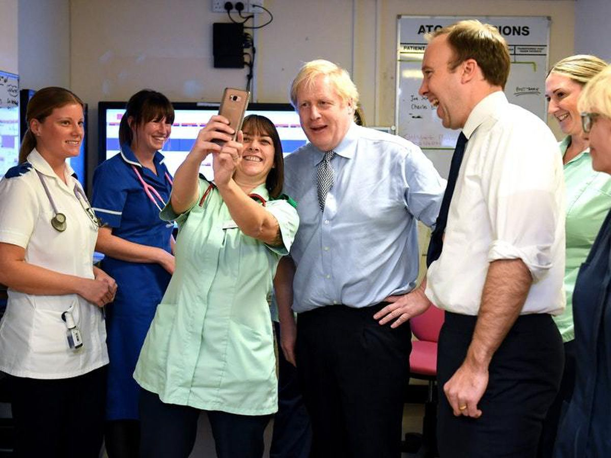 Prime Minister Boris Johnson and Health Secretary Matt Hancock during a visit to Bassetlaw District General Hospital in Worksop