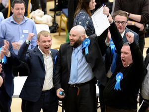 Conservatives celebrate at the count at Wolverhampton University's Walsall campus