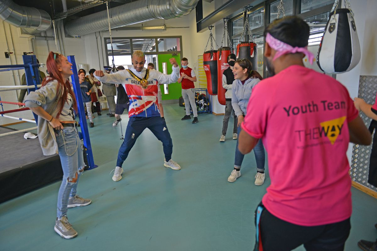 Olympic boxer Ben Whittaker visits The Way Youth Zone in Wolverhampton during his day as Wolverhampton mayor..