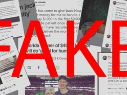 A bunch of fake Twitter accounts posing as the $450m jackpot winner are promising cash for retweets