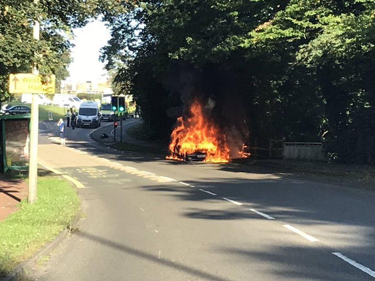 The car was on fire near County Hospital on Thursday. Photo: David Ebberson