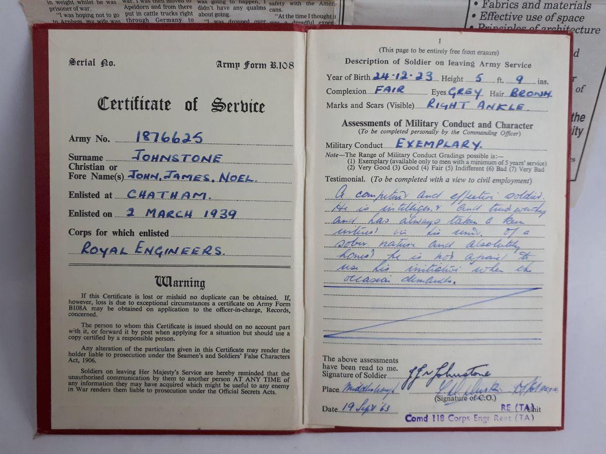John Johnstone's service record