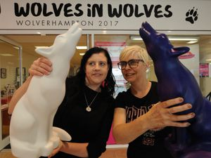 Outside the new Wolves in Wolves pop up shop, artists (left-right) Jo Burgess, of Stourbridge, and Belinda Longsden, of Wolverhampton, at the Mander Centre