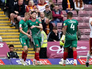 Walsall's Jack Earing (second left) celebrates