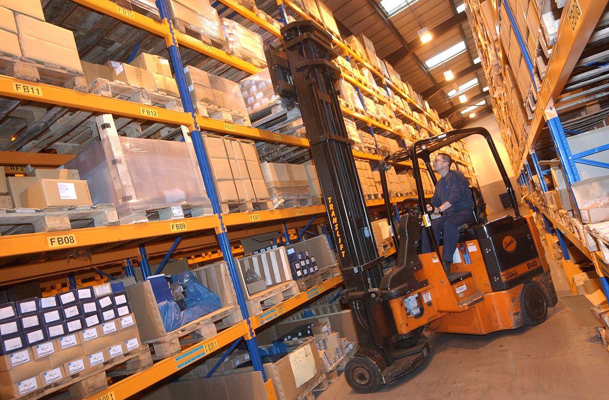 The huge stock room at Ikon Fasteners, Beldray Park, Bilston