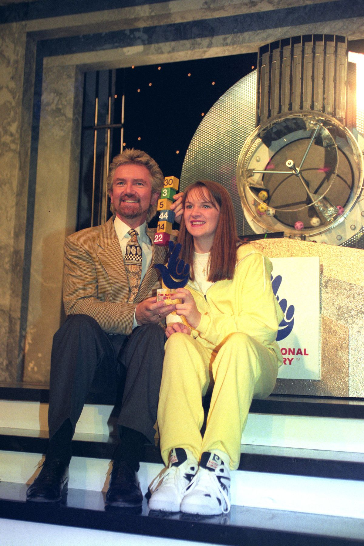 Debbie Walsh won a competition to push the button for the first National Lottery draw, on a show fronted by Noel Edmonds