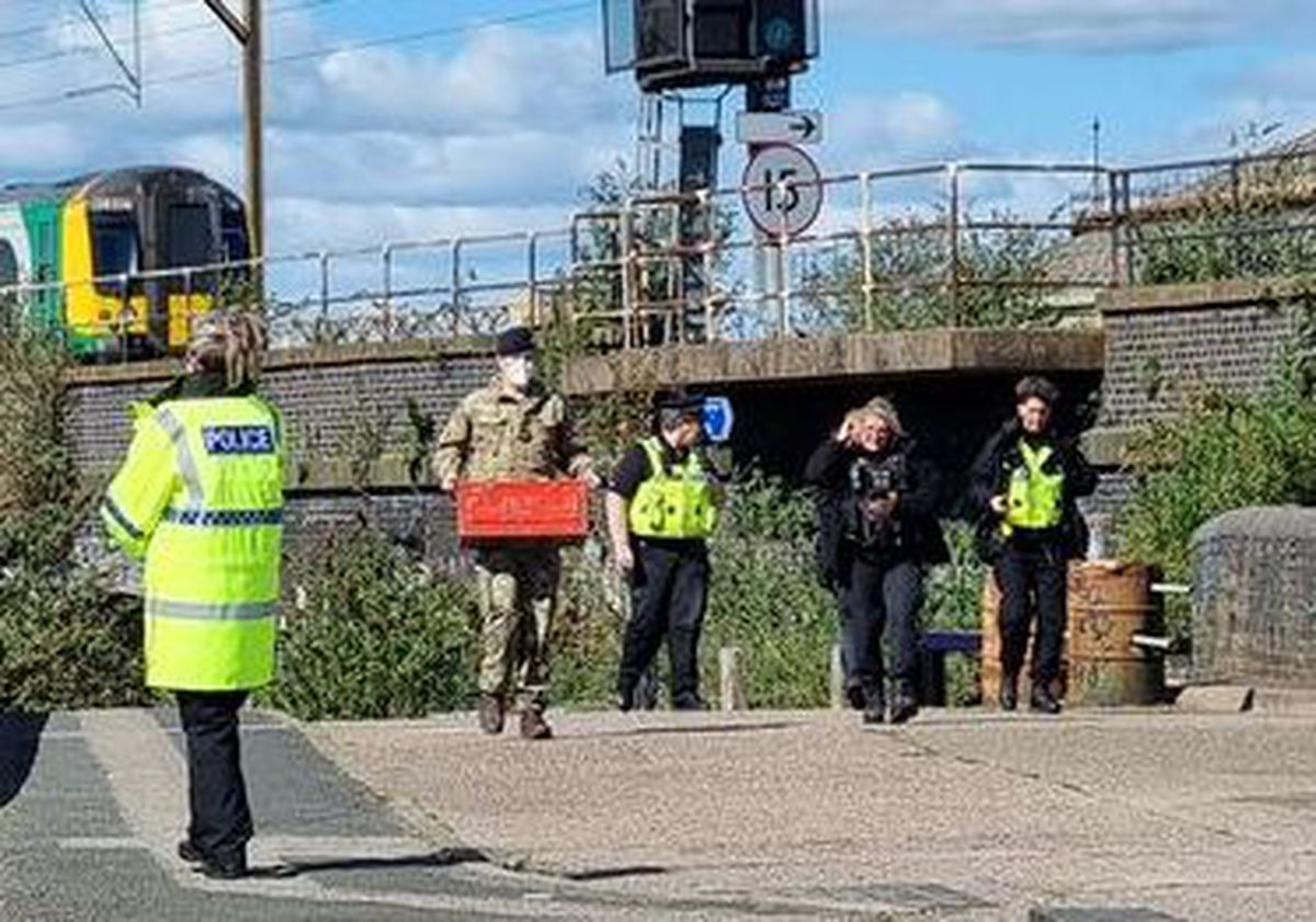 A suspected mortar round was found in a Wolverhampton canal. Photo: Ryan Clifford