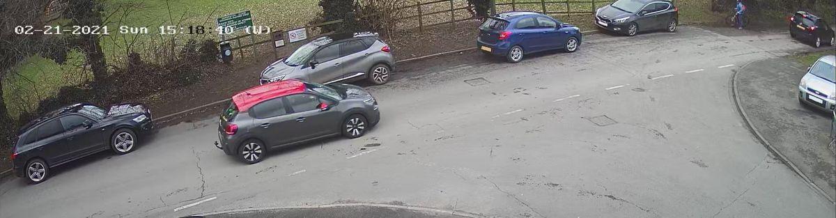 Vehicles parked along Church Lane Derrington On February 21 2021. Image courtesy of Keith Jacques