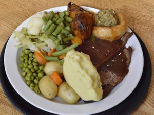Meat and two veg – the carvery was the highlight of the meal and featured piles of freshly-cooked vegetables                                             Pictures by John Sambrooks