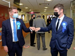 Joshua Whitehouse and Brad Allen celebrate a successful result for the Conservatives in Walsall