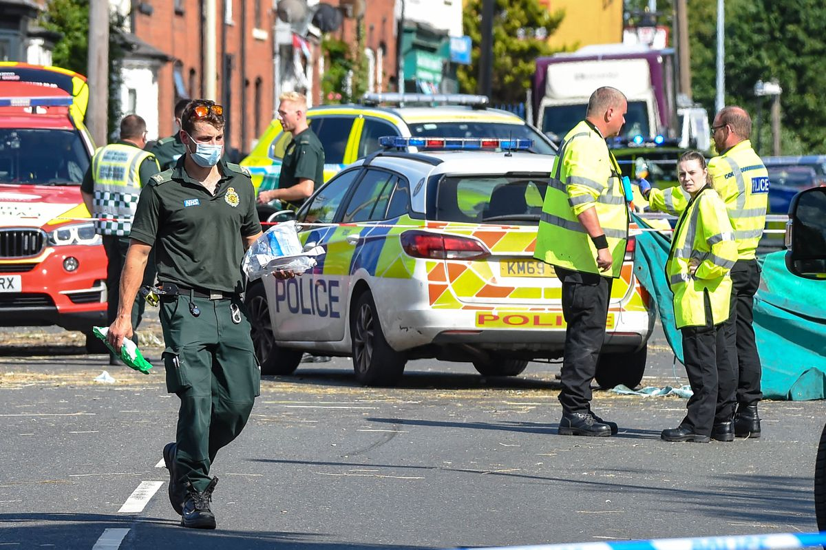 Emergency services at the scene of the crash in Stourbridge Road, Halesowen. Photo: SnapperSK